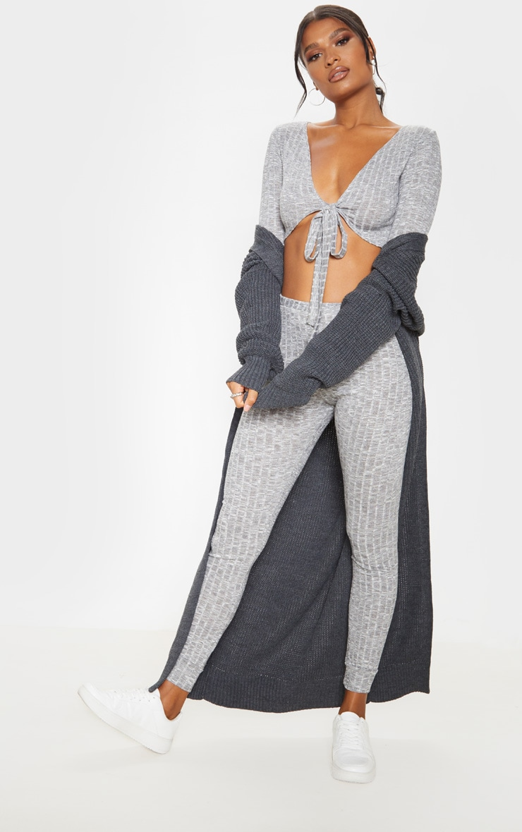 Grey Tie Front Crop And Jogger Lounge Set by Prettylittlething