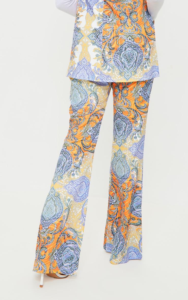 Multi Paisley Printed Kick Flare Trousers 3