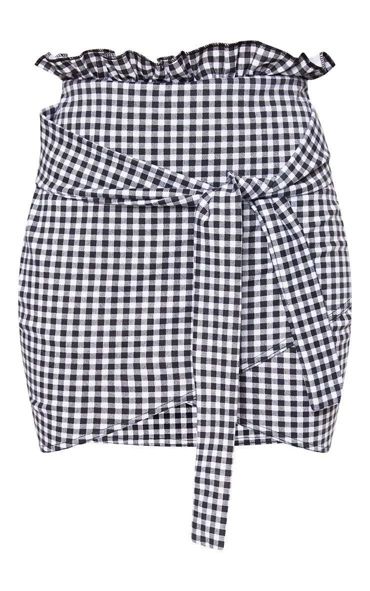 Black Gingham Paperbag Waist Wrap Hem Mini Skirt 3