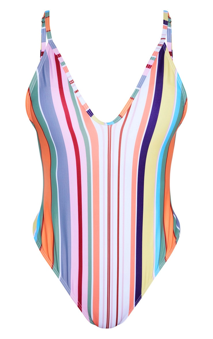 Stripe Low Back Scoop Neck Swimsuit 3