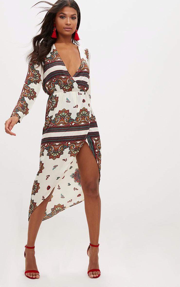 White Scarf Print Midi Dress  1