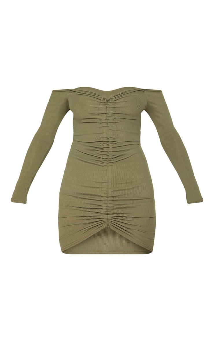 Khaki Ribbed Long Sleeve Bardot Ruched Bodycon Dress 2