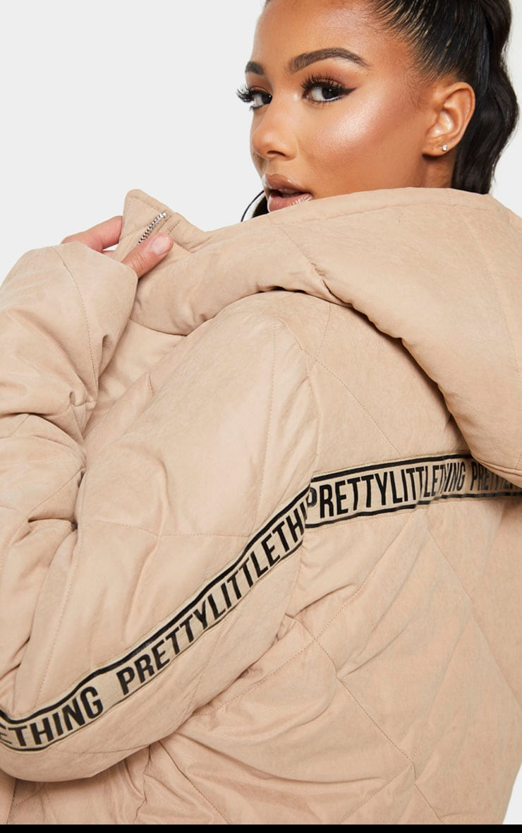 PRETTYLITTLETHING Stone Peach Skin Diamond Quilted Oversized Puffer 4