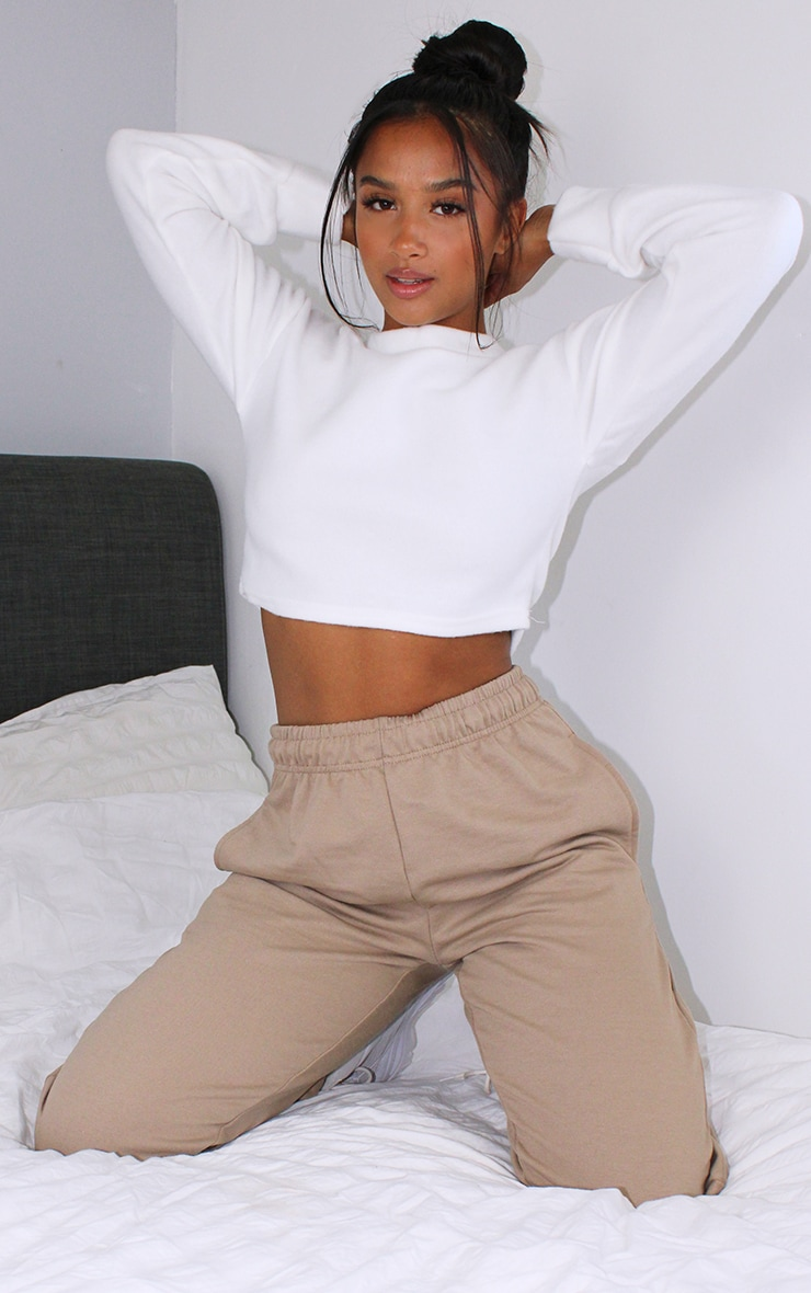 Petite White Brushed Sweat Oversized Jumper 1
