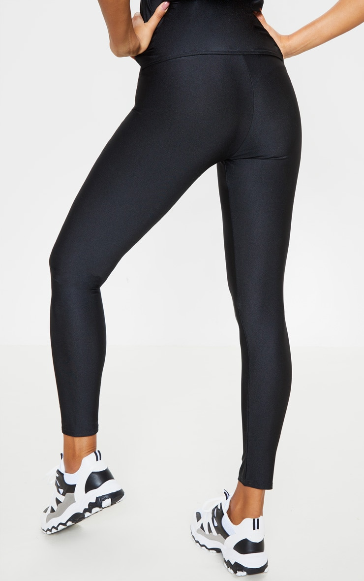 PRETTYLITTLETHING Black Basic Logo Gym Leggings 3