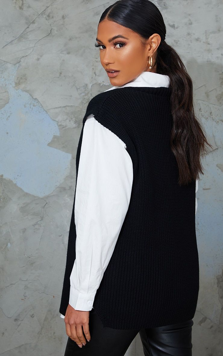 Maternity Black V Neck Knitted Side Split Vest 2