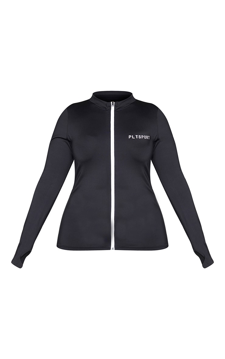 PRETTYLITTLETHING Plus Black Sport Reflective Zip Up Sports Top 5
