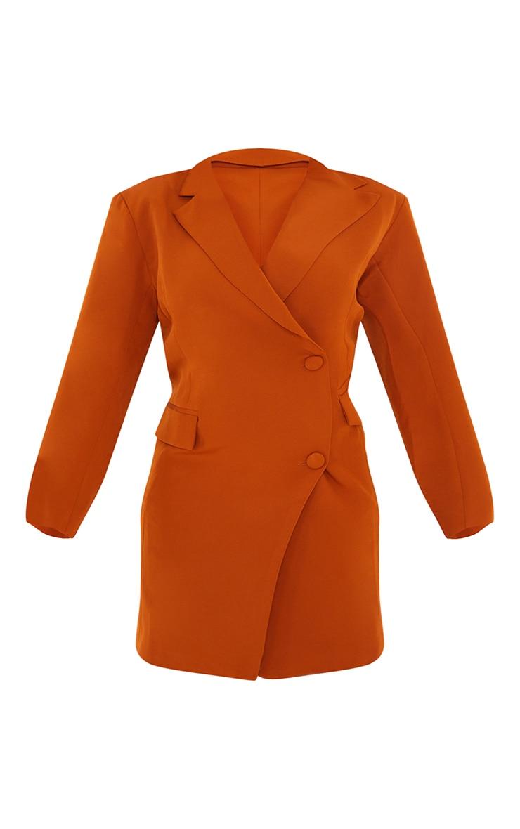 Rust Asymmetric Detail Shoulder Pad Blazer Dress 5