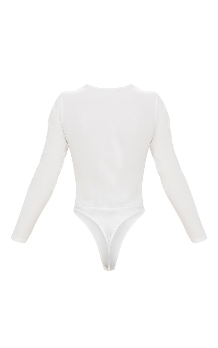 White Lace Up Longsleeve Thong Bodysuit 4