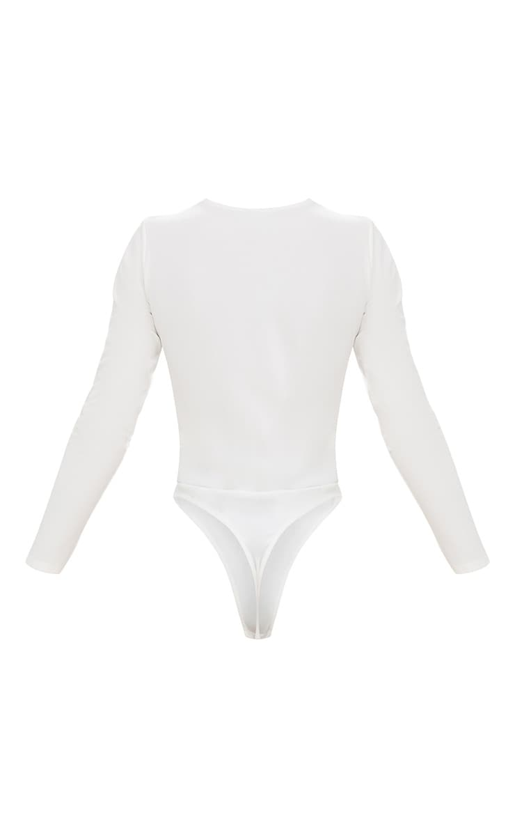 Body string manches longues à lacets blanc 4
