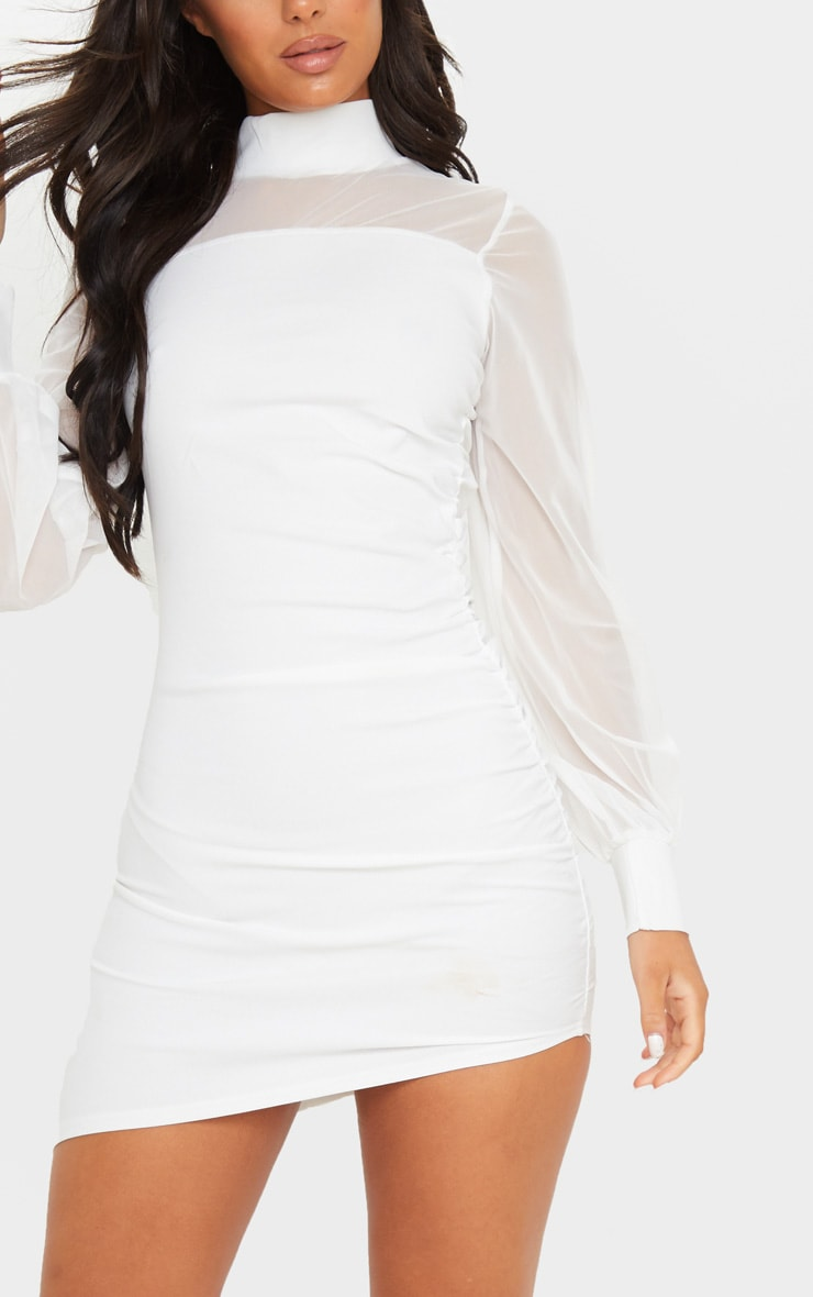 White Mesh Bodice Long Sleeve Ruched Bodycon Dress 5