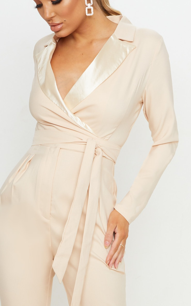 Nude Satin Lapel Tie Detail Jumpsuit 5