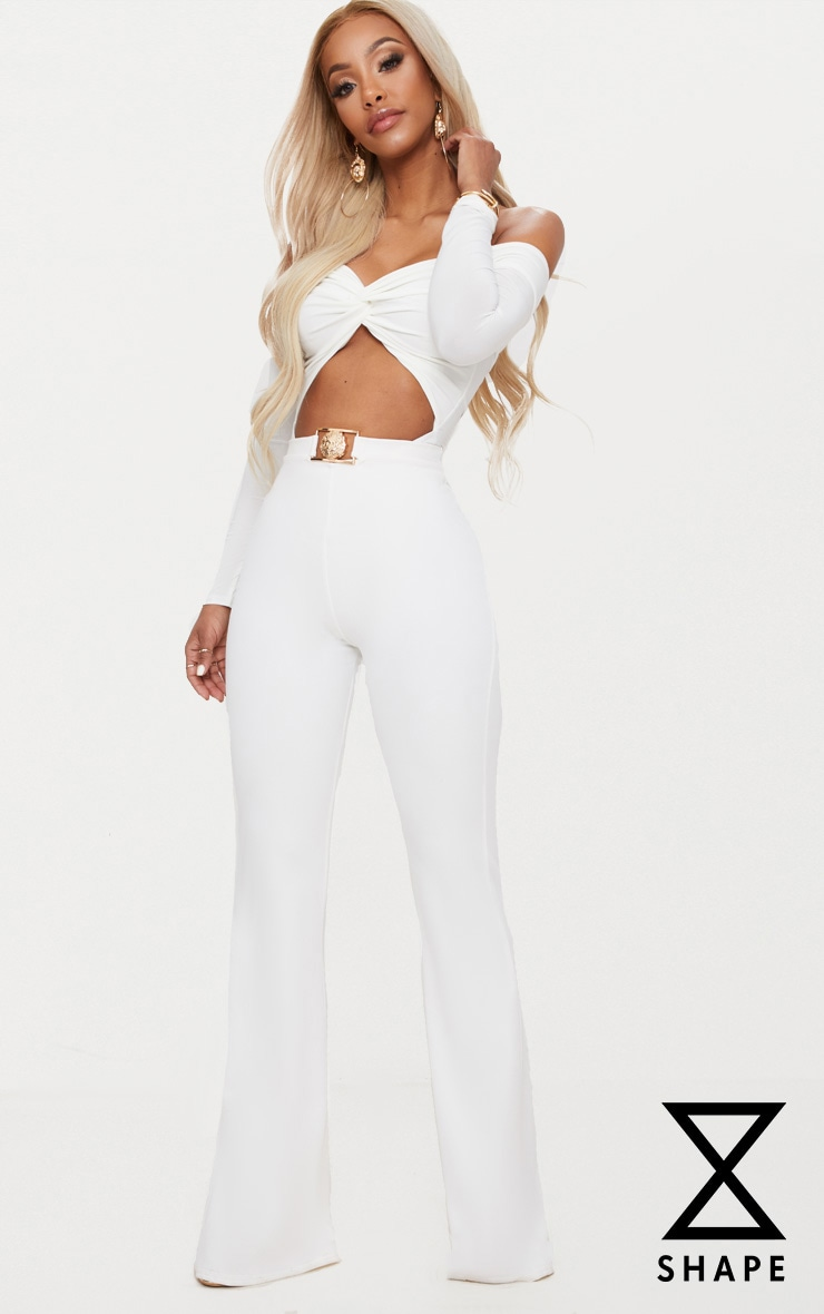 Shape White Lion Trim Wide Leg Trousers 1