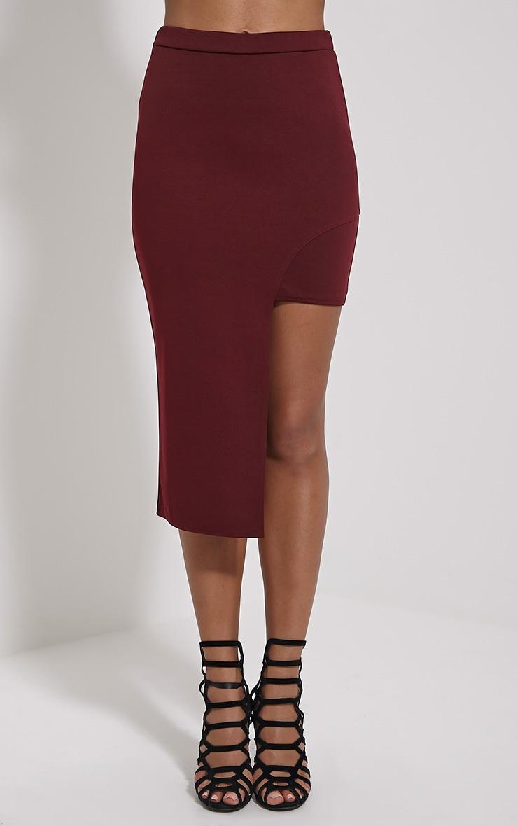 Joslyn Oxblood Asymmetric Drop Hem Midi Skirt 2