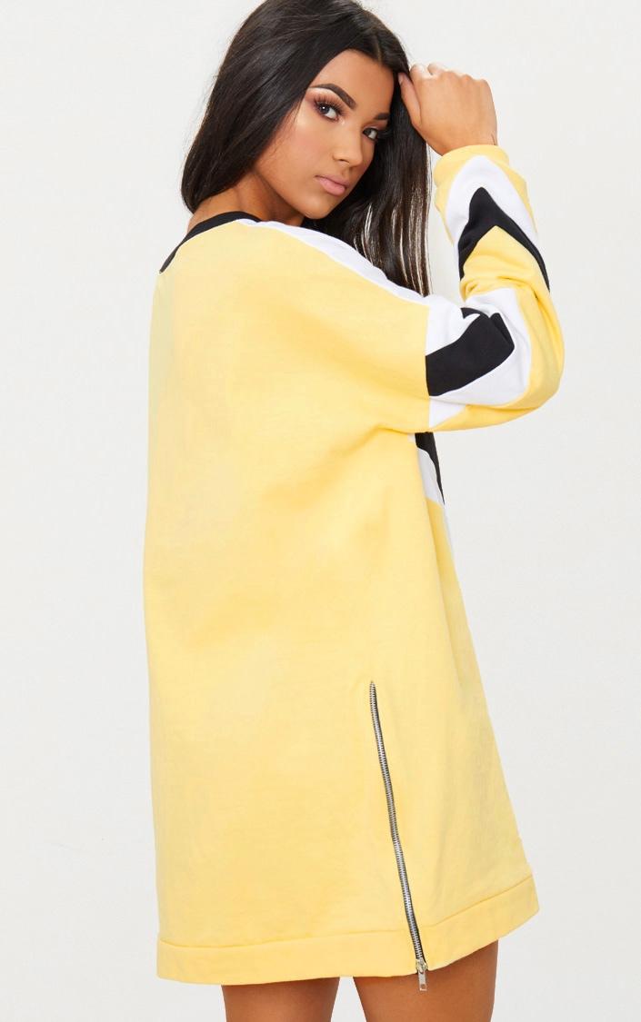 Lemon Chevron Oversized Jumper Dress 2