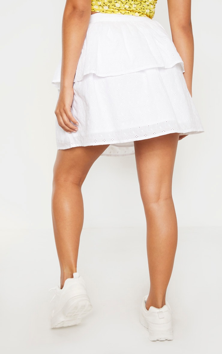 Petite White Frill Tiered Broderie Anglaise Skirt 4