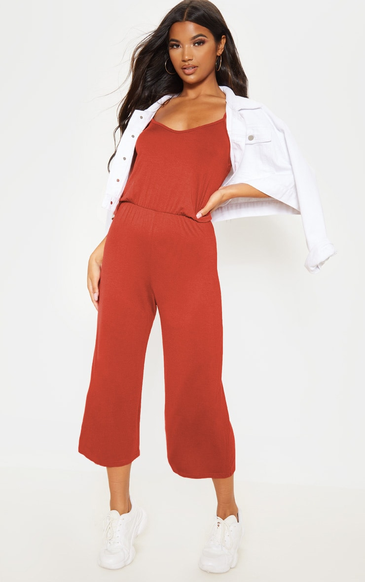 Rust Strappy Jersey Culotte Jumpsuit 1