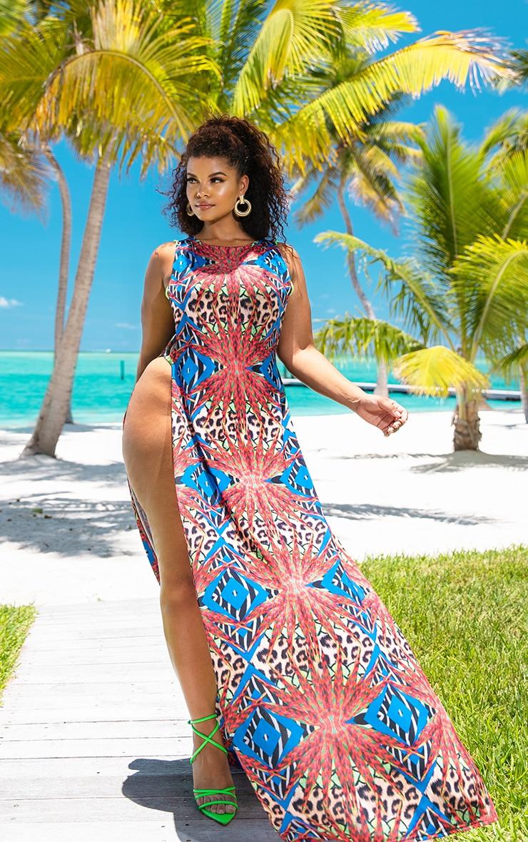Plus Multi Mixed Jungle Print Ring Detail Maxi Dress 2