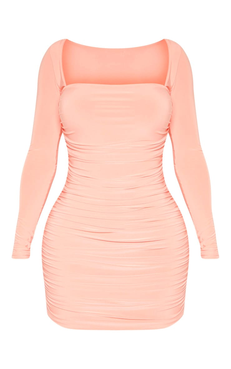 Shape Peach Slinky Square Neck Ruched Front Bodycon Dress 3