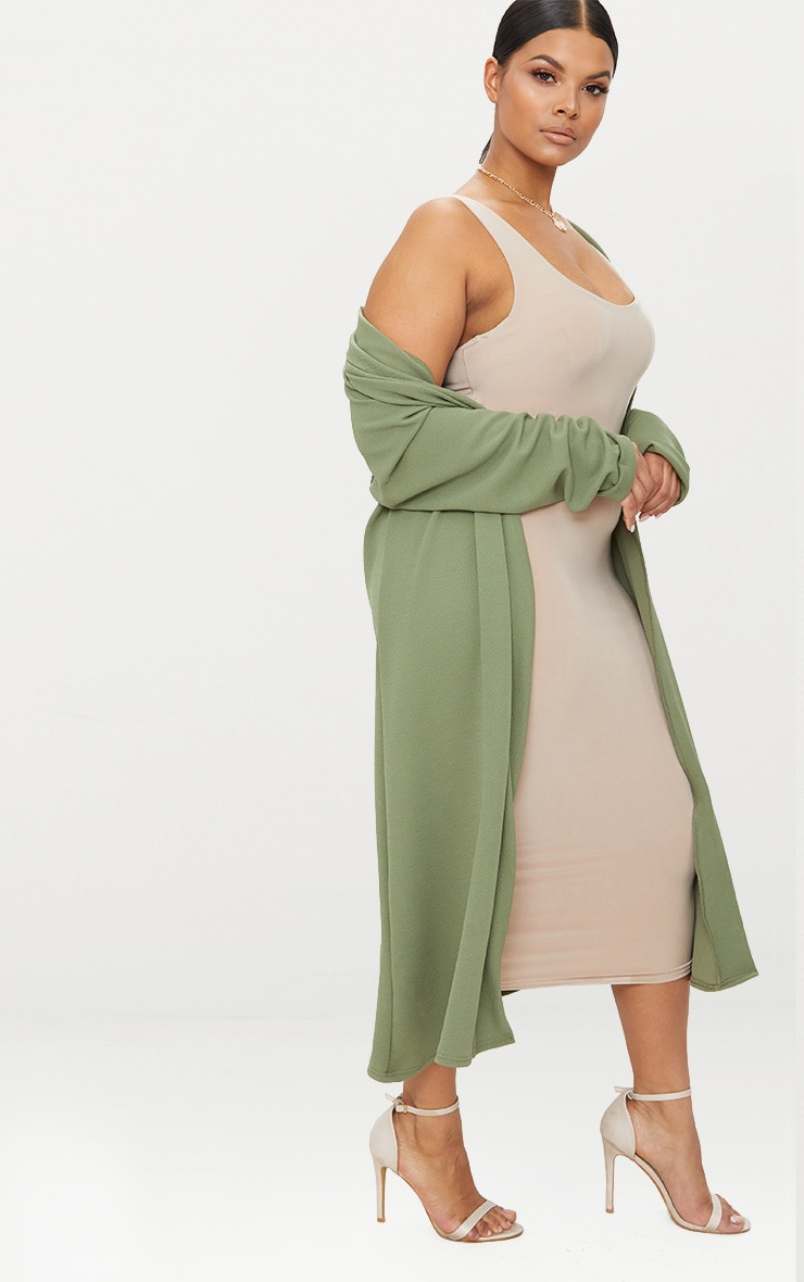 Plus Khaki Crepe Maxi Duster Jacket 3