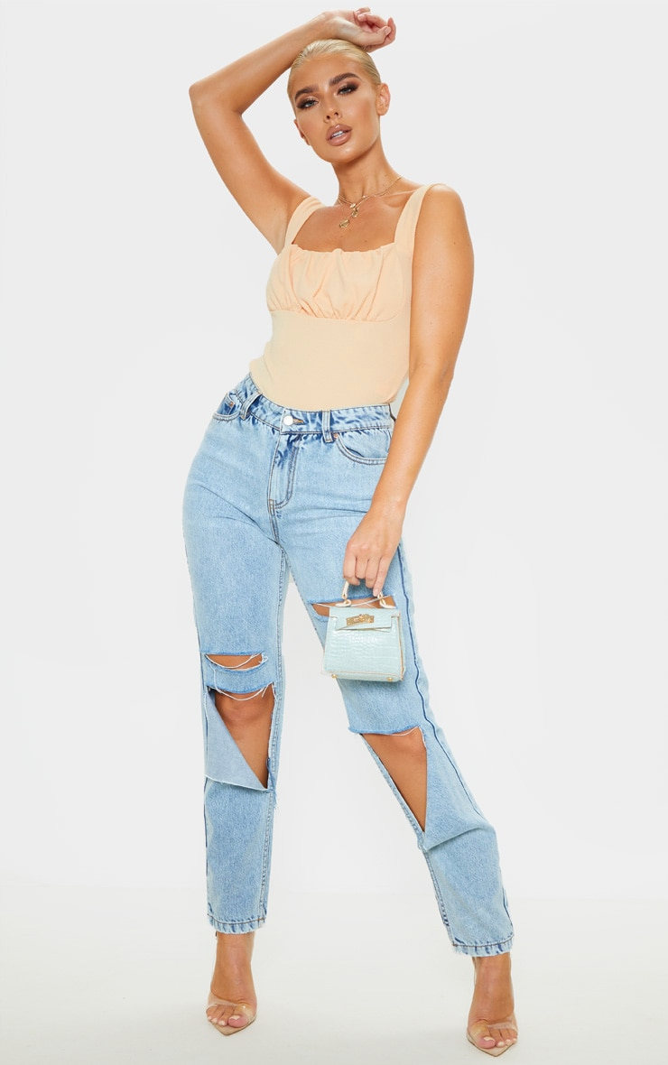 Fawn Crepe Ruched Detail Top 4