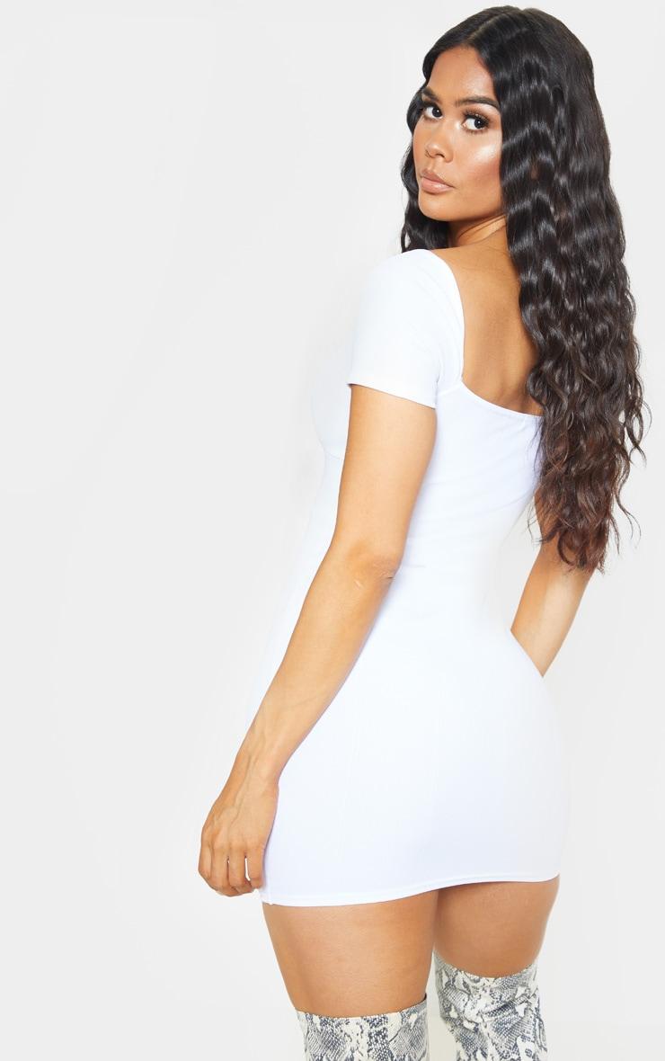 White Bandage Hook & Eye Short Sleeve Bodycon Dress 2