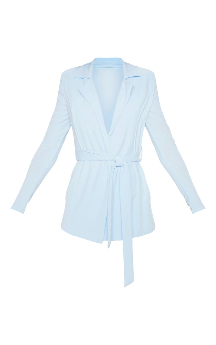 Pastel Blue Belted Blazer 3