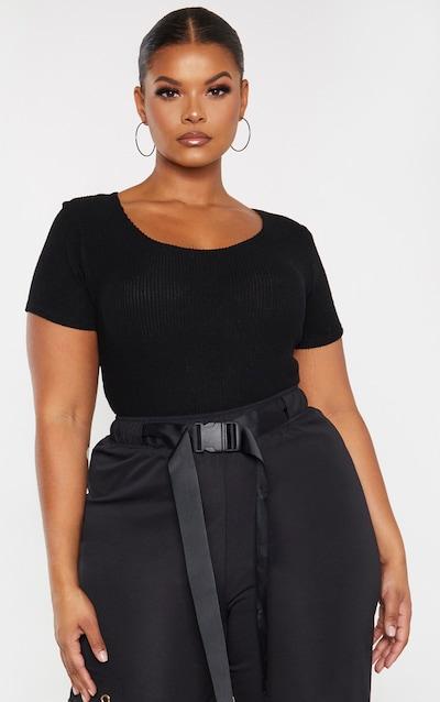 Plus Black Brushed Rib Bodysuit