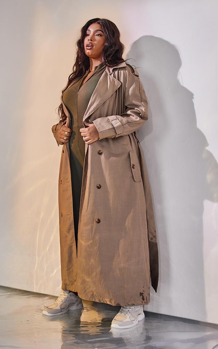 Plus Stone Woven Oversized Trench Coat 1