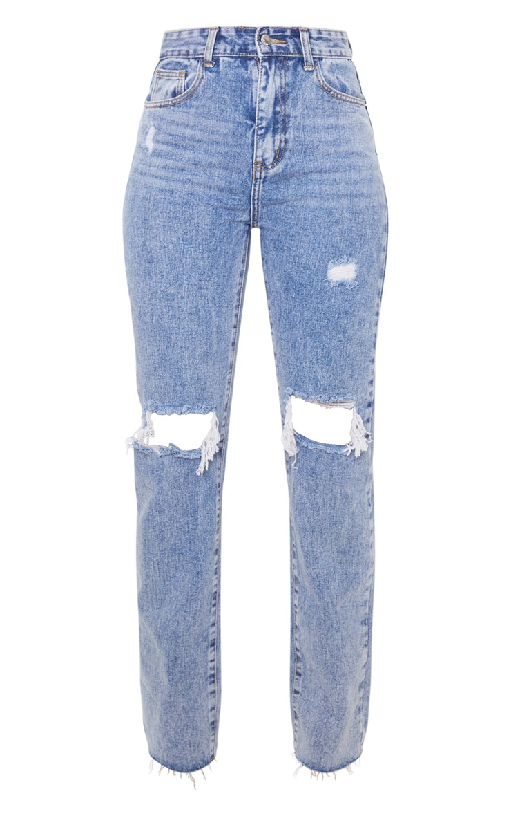 Vintage Wash High Rise Distressed Straight leg Jeans 3