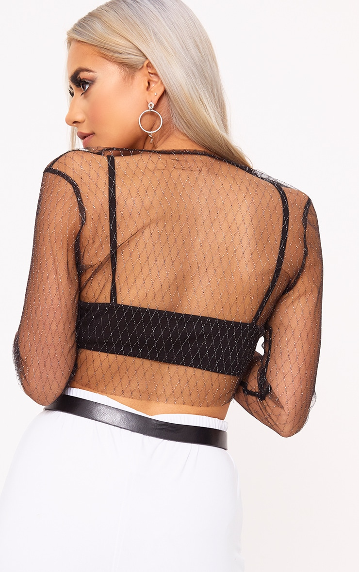 Morrgan Black Sheer Sparkle Mesh Crop Top  2