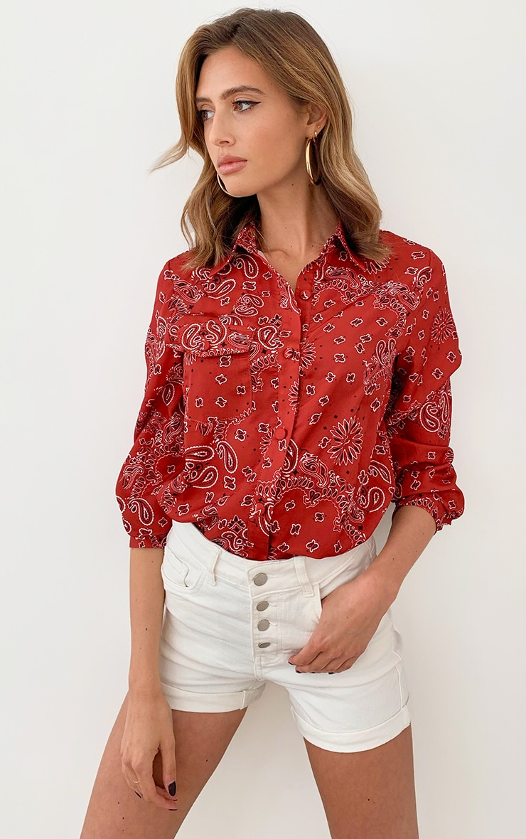 Red Paisley Printed Pocket Oversized Shirt 1