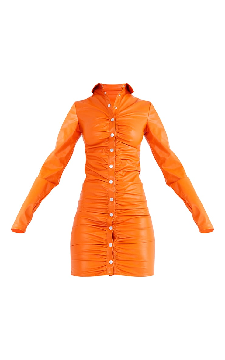 Tall Orange PU Ruched Long Sleeve Mini Dress 5
