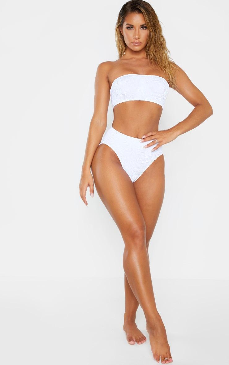 White Crinkle High Waist Bikini Bottom 5