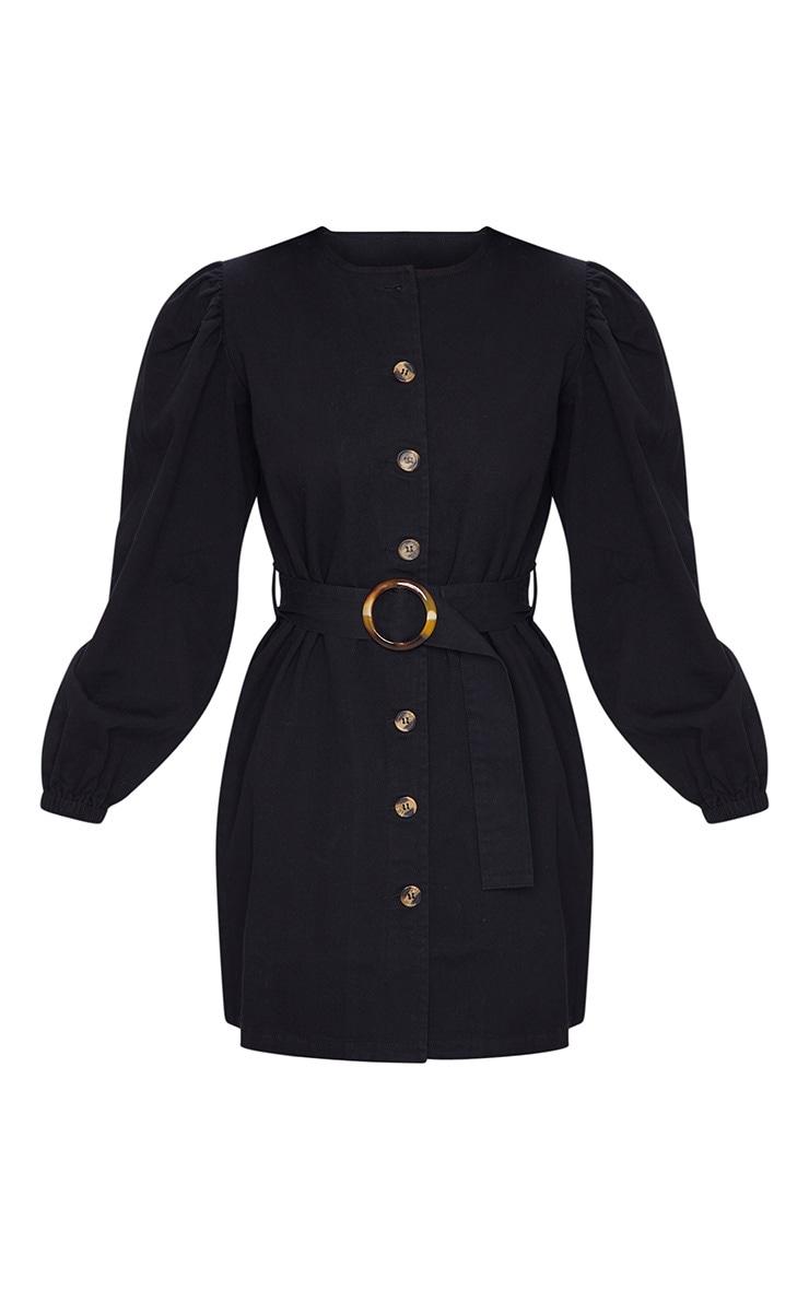 Black Button Through Balloon Sleeve Belted Denim Dress 5
