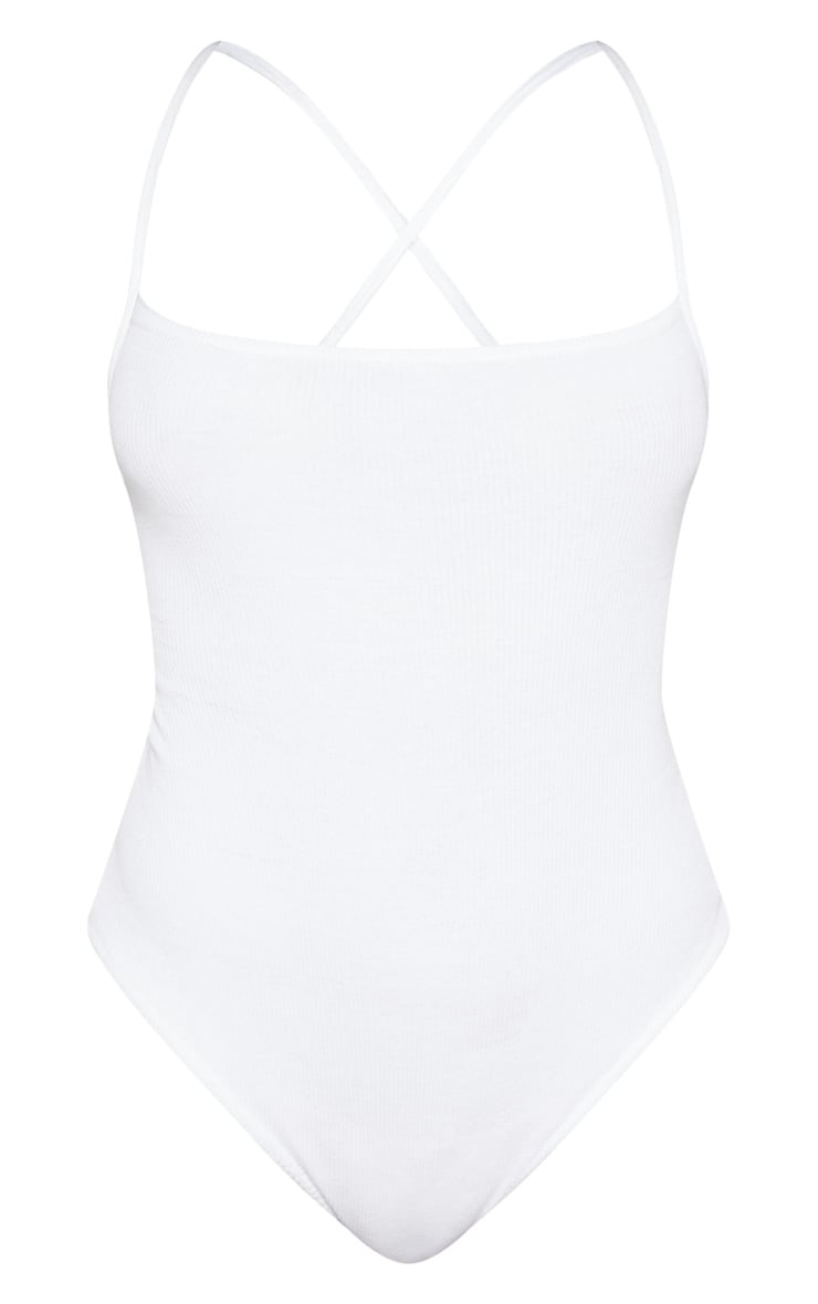 White Rib Strappy Back Thong Bodysuit 3