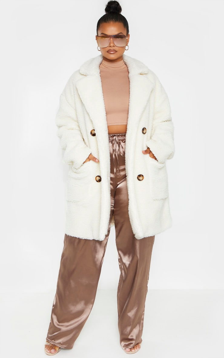 Plus Cream Borg Midi Coat 4