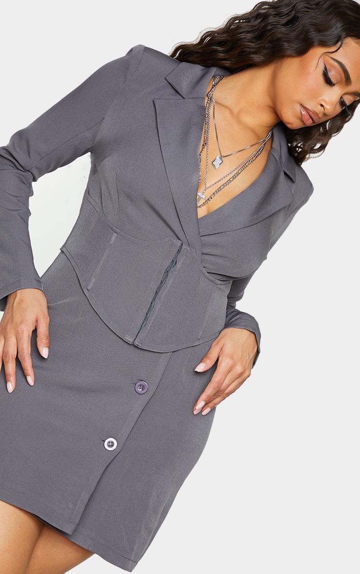 Charcoal Grey Tie Waist Corset Detail Blazer Dress 4