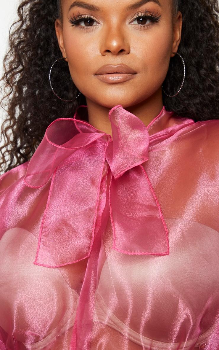 Plus Pink Organza Tie Neck Bodysuit 4