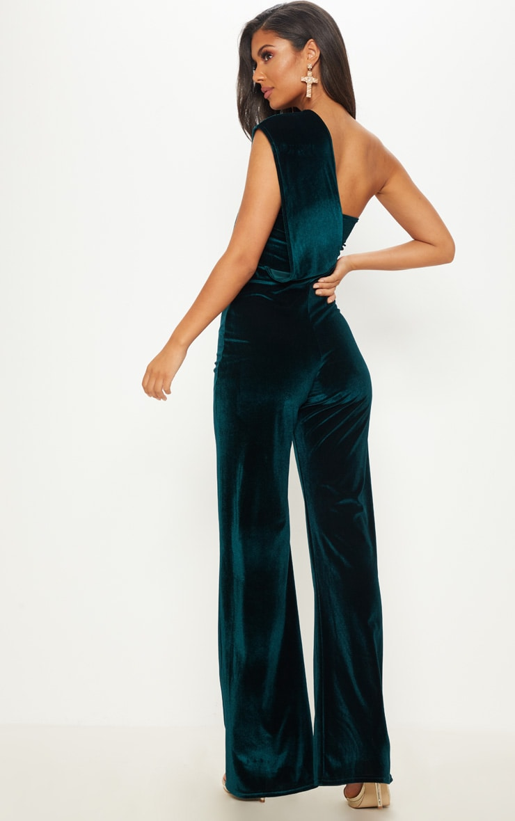 Emerald Green Velvet Drape One Shoulder Jumpsuit 2
