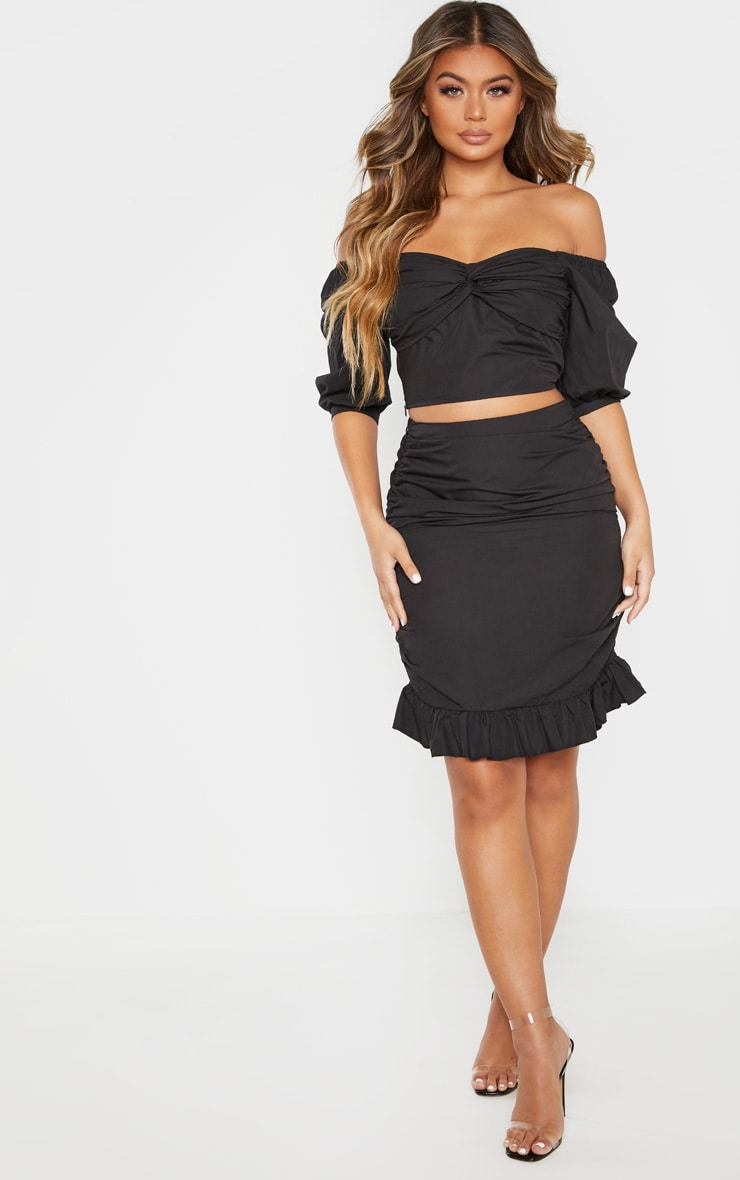 Black Ruched Detail Frill Hem Skirt 1