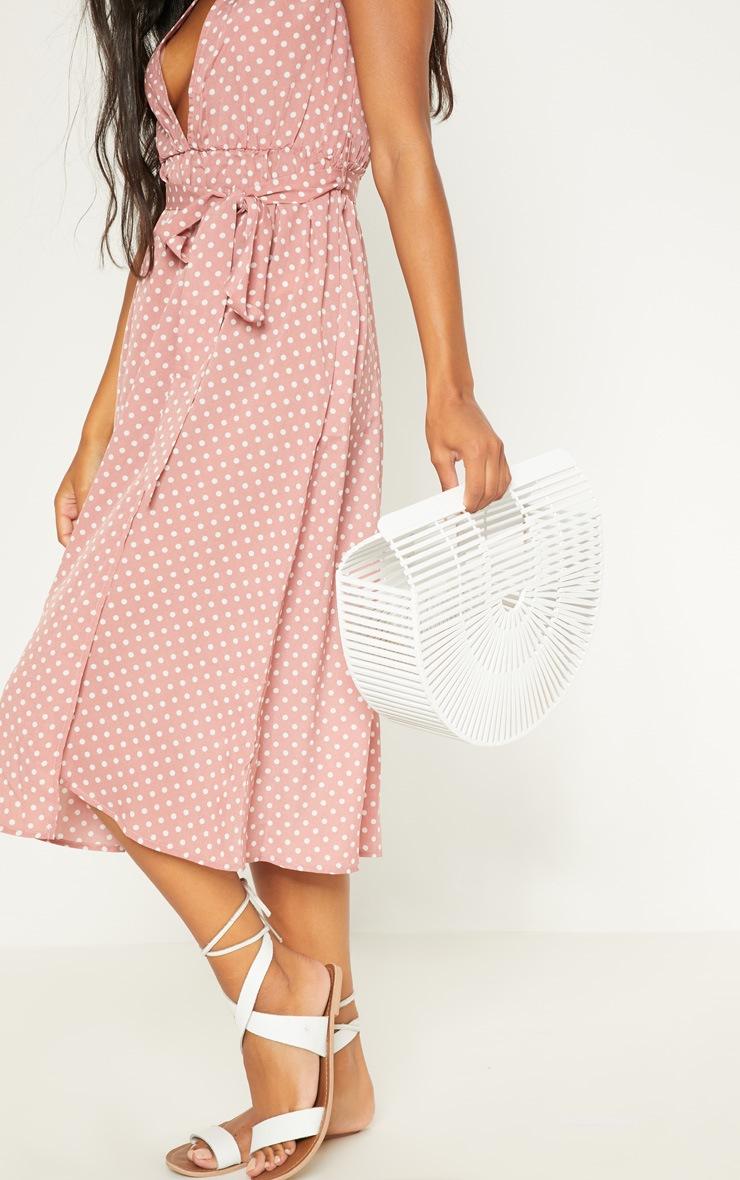 Pink Polka Dot Cap Sleeve Midi Skater Dress 5