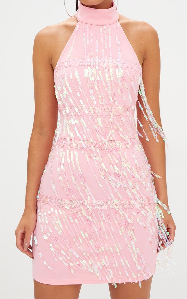 Pale Pink Tassel Sequin Bodycon Dress 5