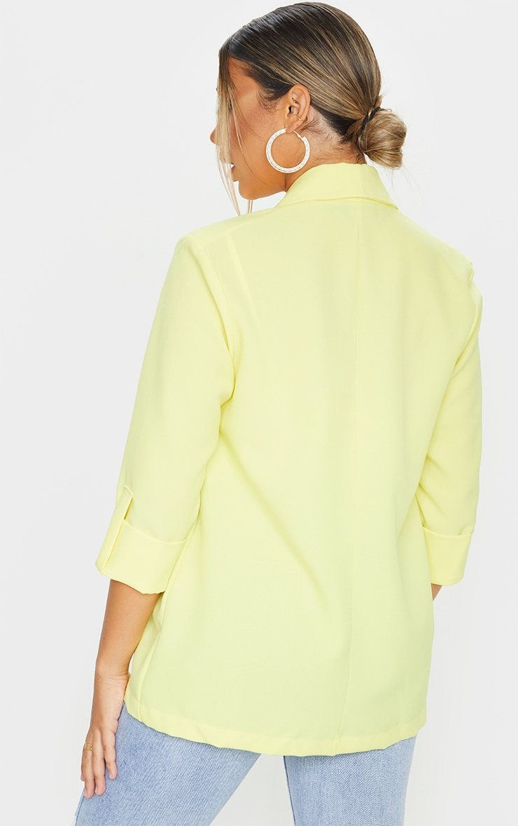 Lemon Woven Turn Up Sleeve Blazer 2