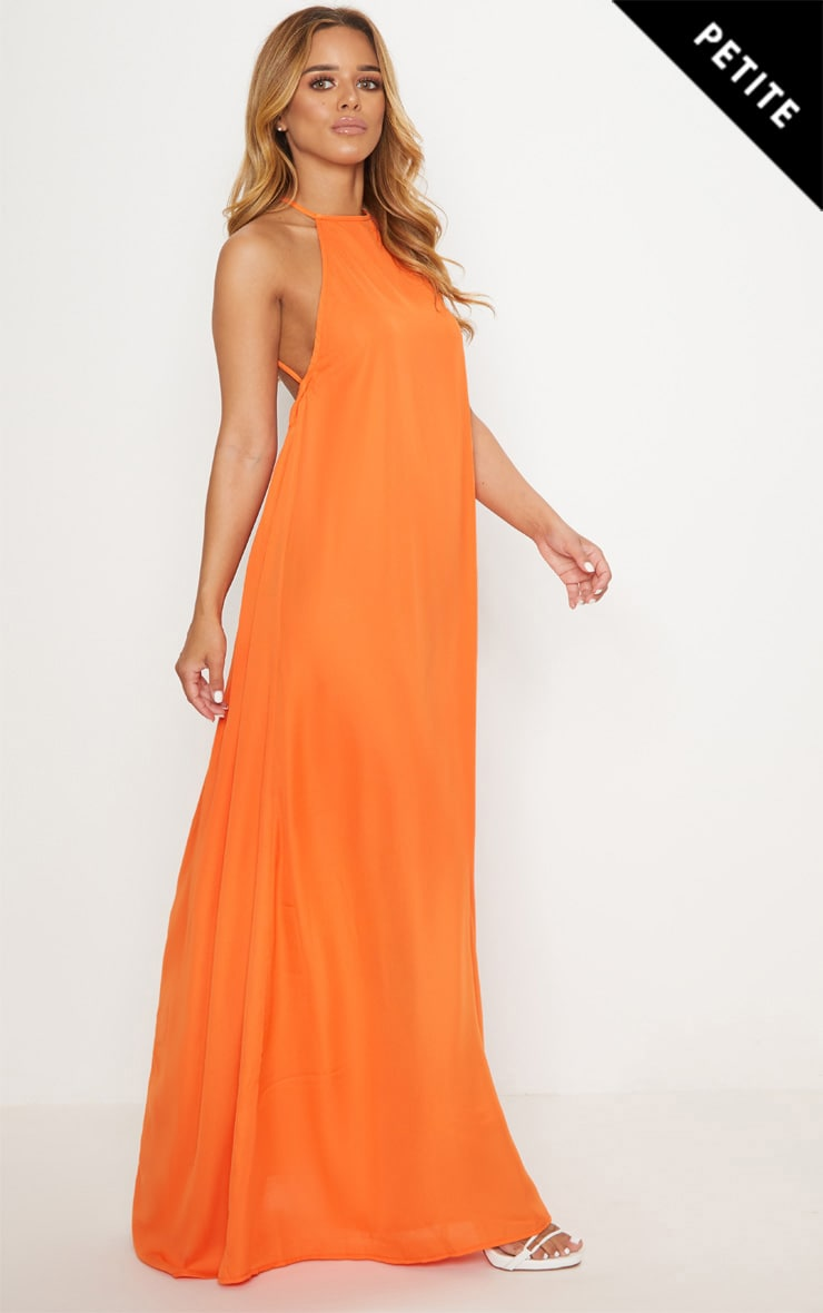 Petite Orange Halterneck Scoop Back Maxi Dress 1