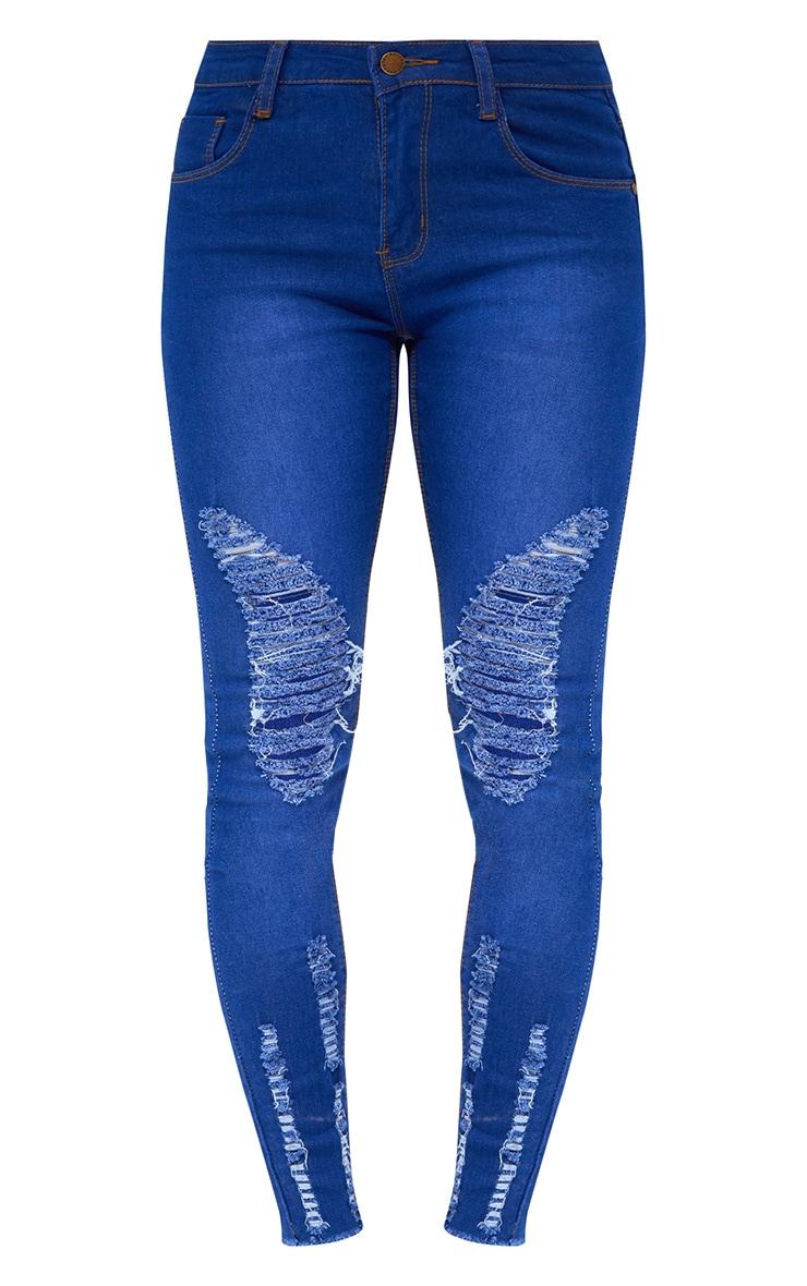 Petite Bright Blue Distressed Skinny Jeans 3