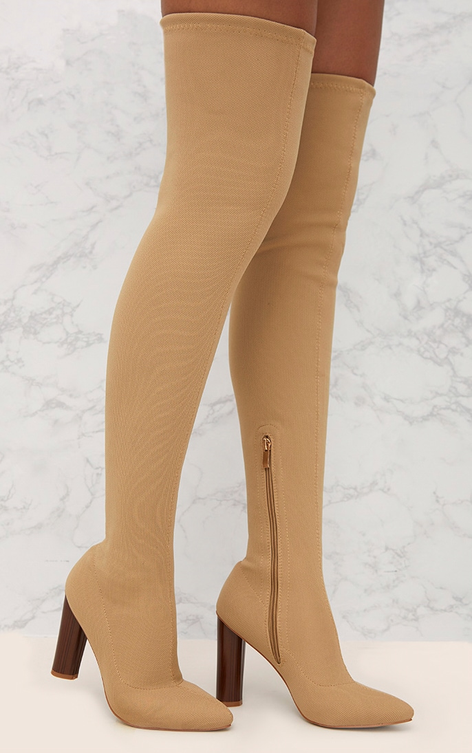 Nude Woven Thigh High Sock Heeled Boots  1
