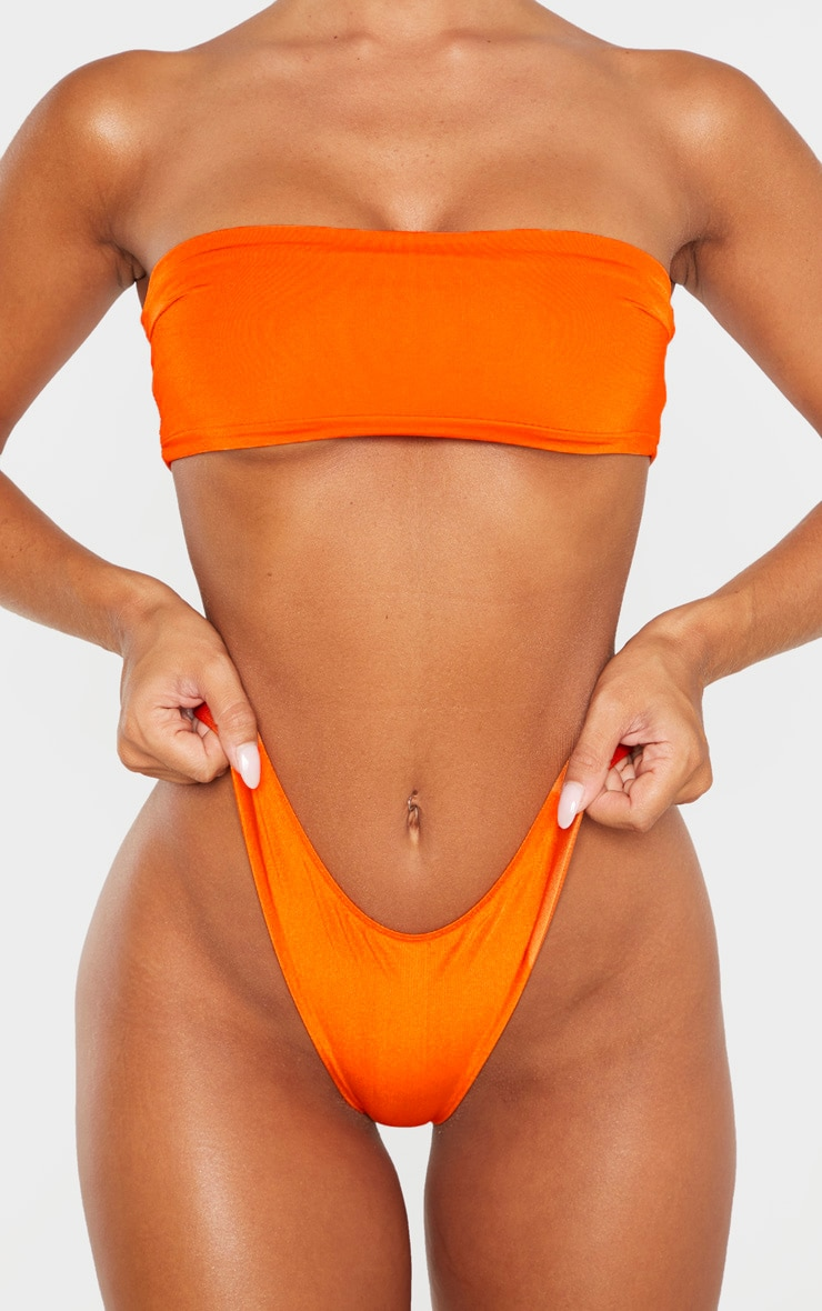 Orange Mix & Match Super High Leg Brazilian Bikini Bottom 4