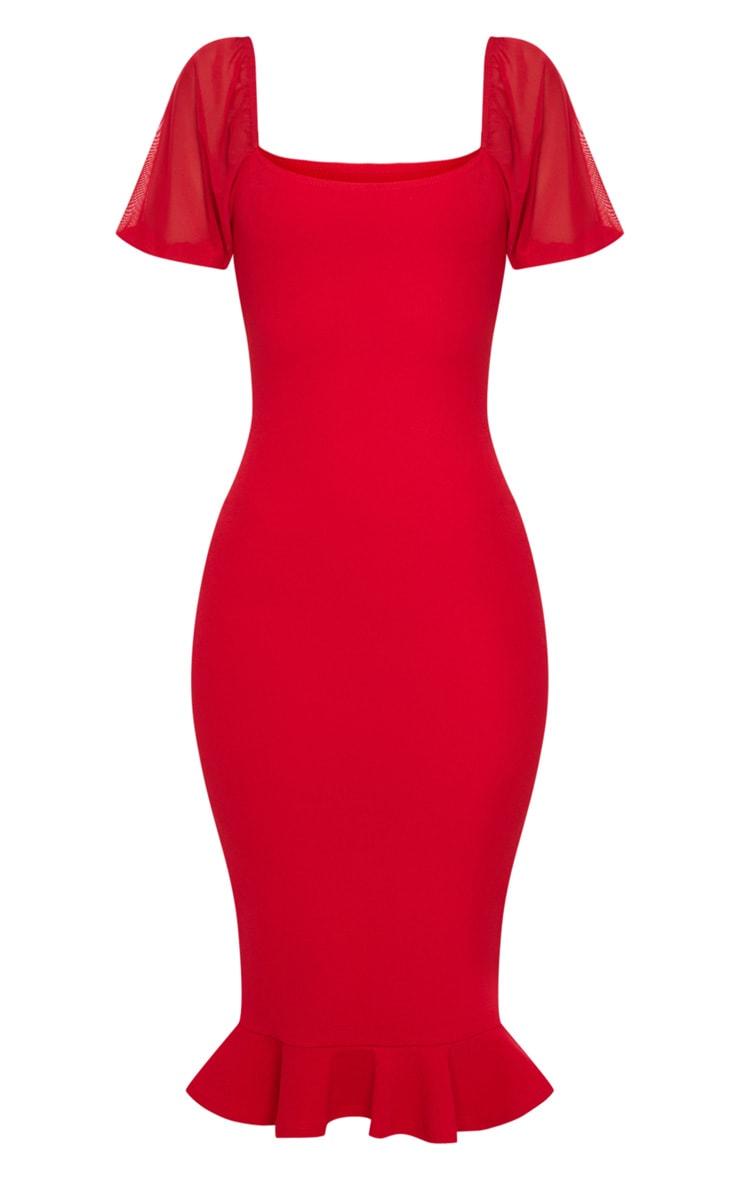 Red Mesh Puff Sleeve Frill Hem Midi Dress 5