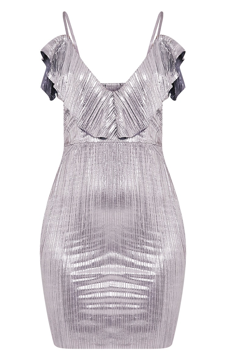 Kalissa Silver Pleated Ruffle Detail Bodycon Dress 3